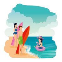 jongeren met zwembroek en surfplank op het strand