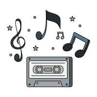 audio cassette record met muzieknoten vector