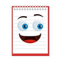 notitieboek school kawaii komisch karakter vector