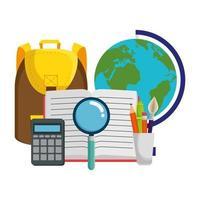 schooltas met wereldkaart en boek vector