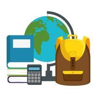 schooltas met wereldkaart en boek