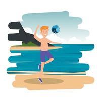 gelukkige atletische jongen die volleybal op het strand oefent vector