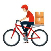 werknemer van bezorgdienst in fiets met dozen vector