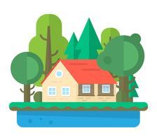 Flat huis landschap vector