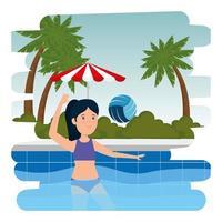 gelukkig atletisch meisje dat volleybal op het zwembad beoefent vector