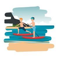 gelukkige atletische jongens die surfen in de zee beoefenen vector