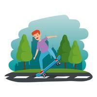 gelukkige jonge jongen in skateboard in de weg