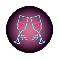 kopje glas in neonlicht, Valentijnsdag vector