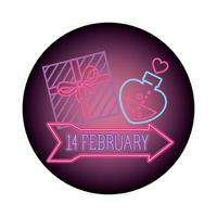set van valentijn iconen in neon licht vector