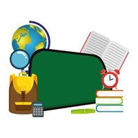 schoolbord school met educatieve elementen vector