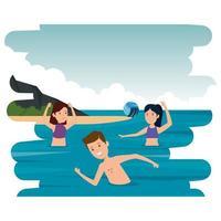 gelukkige atletische mensen die volleybal in de zee beoefenen vector
