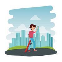 gelukkig jong meisje in skateboard op het park