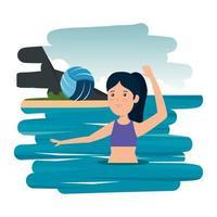gelukkig atletisch meisje dat volleybal in de zee beoefent vector