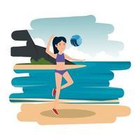 gelukkig atletisch meisje dat volleybal op het strand oefent vector