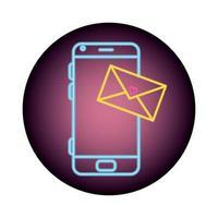smartphone met tekstballon in neonlicht, Valentijnsdag vector