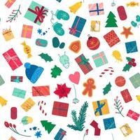 Nieuwjaar vakantie items naadloze kleurenpatroon vector