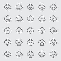 wolk lijn pictogrammen instellen