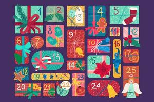 Kerst feestelijke adventskalender platte vectorillustratie