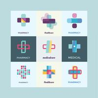 Gezondheidszorg Logo Design Elements Set vector