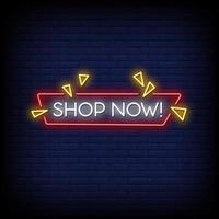 winkel nu neonreclame stijl tekst vector
