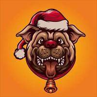 schattige kerst hond mascotte illustratie vector