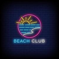 beach club neonreclames stijl tekst vector