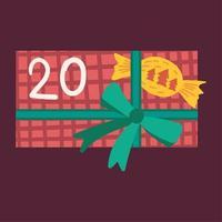 Nieuwjaar cadeau met snoep platte vectorillustratie