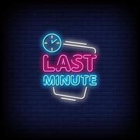 last minute neonreclames stijl tekst vector