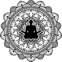 yogi zittend in lotus houding zwart silhouet