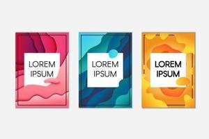 abstracte papercut banner set vector
