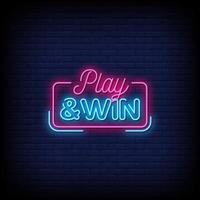 speel en win neonreclamestijl tekstvector vector