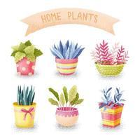 aquarel stijl bloemen in potten set vector