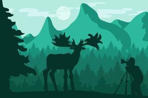 dieren in het wild, natuurfotograaf platte vectorillustratie vector