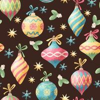 naadloze Kerstdecoratie aquarel stijl patroon vector