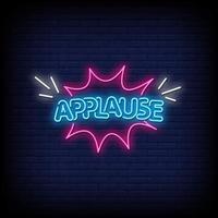 applaus neonreclames stijl tekst vector