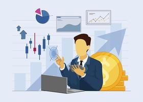 zakenman statische financiële vector werkt