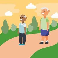 interraciale oude mannen die in het park lopen, actieve seniorenkarakters