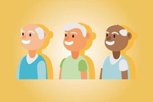 interraciale oude mannen, actieve seniorenkarakters
