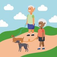 interraciaal oud stel dat met de honden loopt, actieve seniorenkarakters