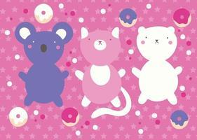 schattig kawaii-ontwerp met dieren en donuts vector