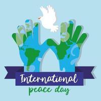internationale dag van vrede belettering met handen en duif vliegen