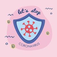 laten we de coronavirus-beletteringscampagne stoppen met een veiligheidsschild vector