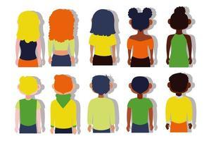 groep van de ruggen van interraciale mensen vector
