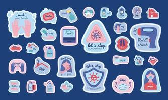 bundel nieuwe normale campagne met letters en pictogrammen vector