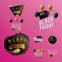 zwarte vrijdag verkoop labels instellen vector