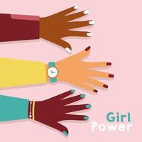 girl power poster met interraciale handen vector