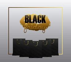 zwarte vrijdag verkoop banner met boodschappentassen vector
