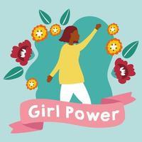 girl power poster met afro vrouw met bloemen vector