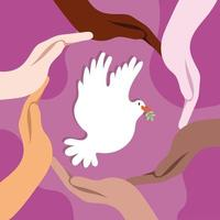 internationale dag van vrede belettering met duif en interraciale handen rond