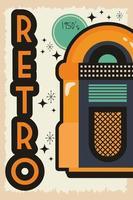retro-stijl feestaffiche met muziekjukebox vector